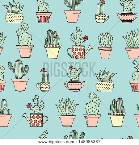 Colorful Seamless Pattern With Cute Cactus In Simple Hand Drawn Style. Cute Cartoon Potted Cacti Pat