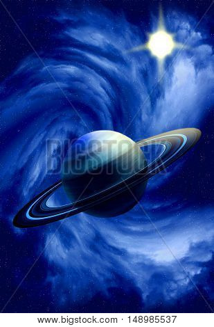 Planet with rings in deep space. Space landscape.