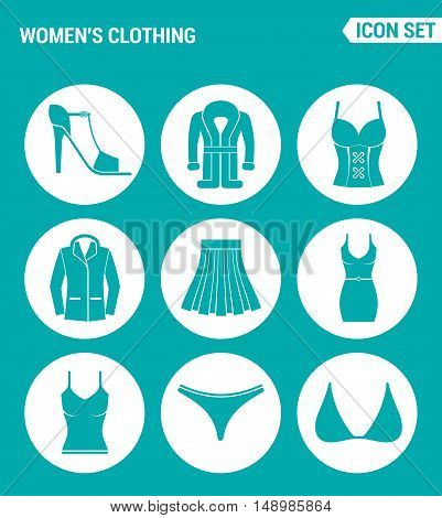 Vector set web icons. Womens clothing shoes coat jacket skirt dress t-shirt swimming trunks brassiere. Design of signs symbols on a turquoise background
