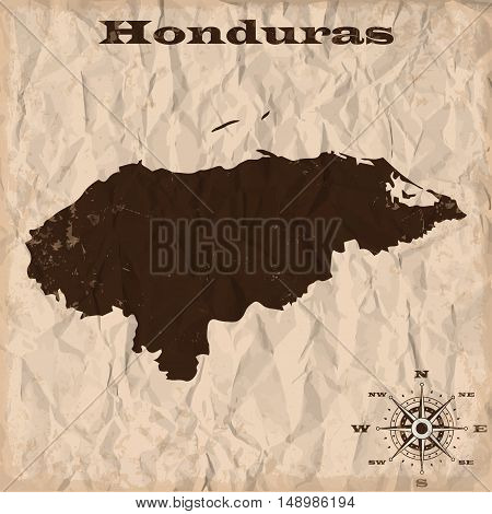 Honduras old map with grunge and crumpled paper. Vector illustration