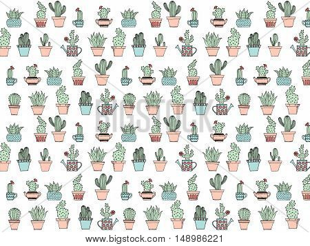 Colorful Background With Cute Cactus In Simple Hand Drawn Style. Cute Cartoon Potted Cacti Backgroun