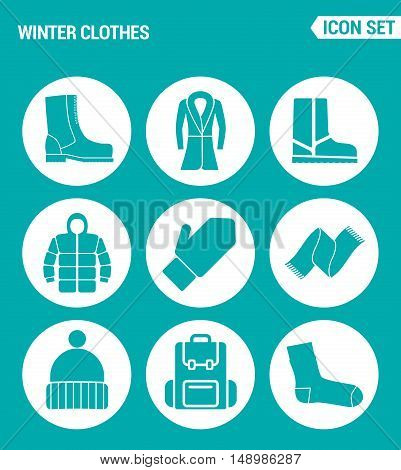 Vector set web icons. Winter clothes shoes coats boots jacket gloves scarf hat bag sock. Design of signs symbols on a turquoise background