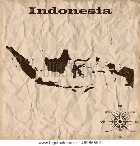 Indonesia old map with grunge and crumpled paper. Vector illustration