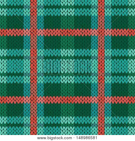 Seamless Knitted Pattern In Green, Turquoise And Terracotta