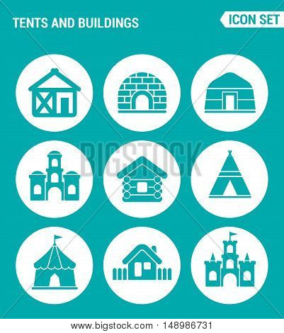 Vector set web icons. Tents and buildings culture indian Turkish tent castle fort hut courtyard. Design of signs symbols on a turquoise background