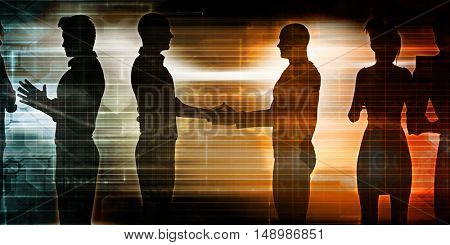 Business Discussion Between Two Teams of Executives 3D Illustration Render