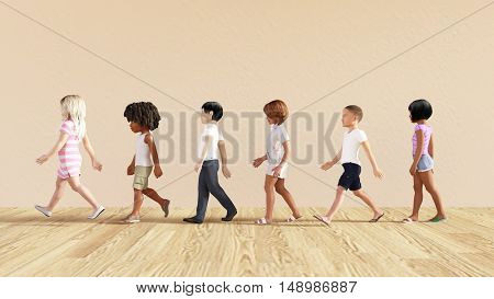 Child Development with Children Learning and Playing 3D Illustration Render