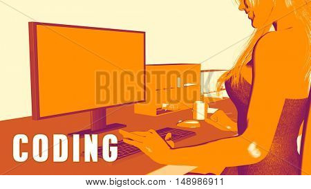 Coding Concept Course with Woman Looking at Computer 3D Illustration Render