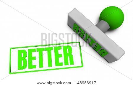 Better Stamp or Chop on Paper Concept in 3d 3D Illustration