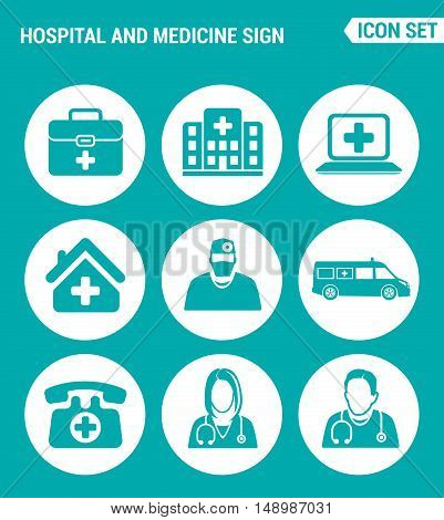 Vector set web icons. Hospital rescue paramedic people ambulances medical emergency. Design of signs symbols on a turquoise background