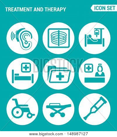 Vector set web icons. Treatment and therapy hearing instrument X-ray dropper bed hospital folder doctor wheelchair crutches stretcher. Design of signs symbols on a turquoise background