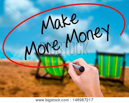 Man Hand Writing Make Money Money  With Black Marker On Visual Screen