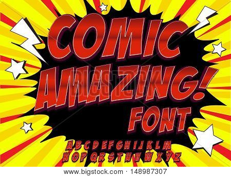 Creative high detail comic font. Alphabet in the style of comics, pop art. Letters and figures for decoration of kids' illustrations, comics and banners. Easy to use for works.