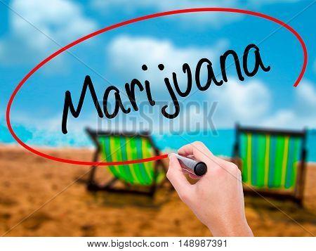 Man Hand Writing Marijuana With Black Marker On Visual Screen