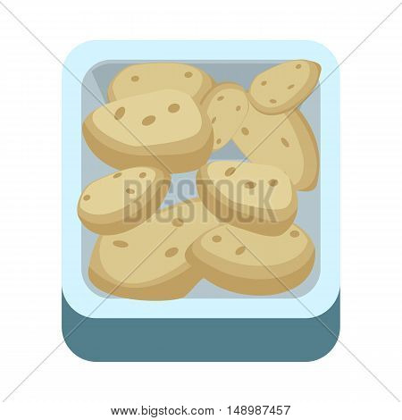 Potatoes in tray vector in flat style design. Grocery store assortment, foods for diet, fresh vegetables concept. Illustration for icons, signboards, ad, infographics design. Isolated on white.