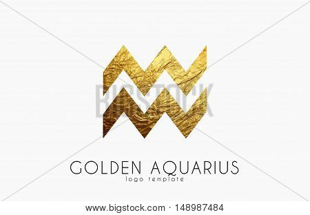 Golden aquarius. Golden zodiac sign. Aquarius zodiac