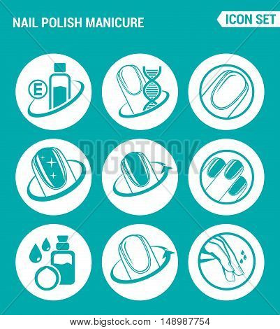 Vector set web icons. Nail polish manicure Care of fingers gloss polish. Design of signs symbols on a turquoise background