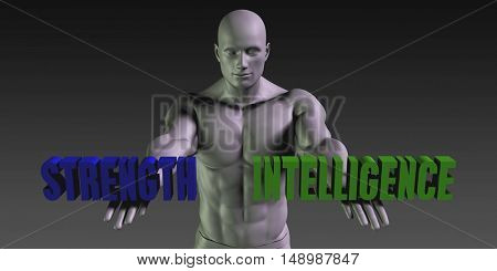 Strength or Intelligence as a Versus Choice of Different Belief 3D Illustration Render