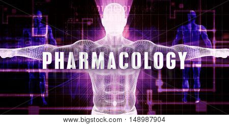 Pharmacology as a Digital Technology Medical Concept Art 3D Illustration Render