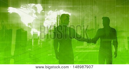Business Presentation Abstract Background with Partners Shaking Hands 3D Illustration Render