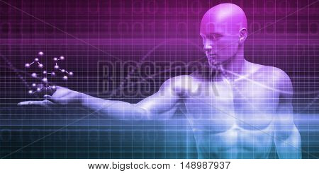 Science Background with Molecules for Research and Development 3D Illustration Render