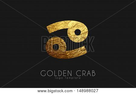 Golden crab. Golden zodiac sign. Crab zodiac