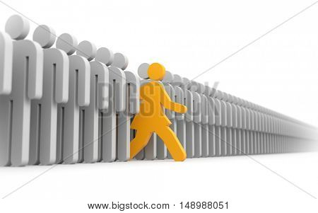 Woman run to new opportunities. 3d illustration