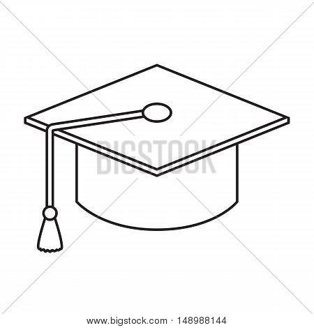 Line icon graduation cap isolated on white background. Vector illustration.