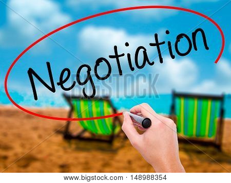 Man Hand Writing Negotiation  With Black Marker On Visual Screen.