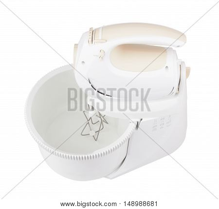 electrical kitchen mixer with bowl isolated on white background