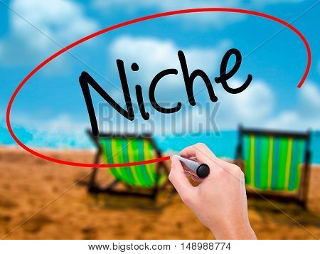 Man Hand Writing Niche With Black Marker On Visual Screen.