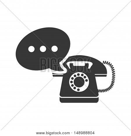 retro telephone device with speech communication bubble  icon silhouette. vector illustration