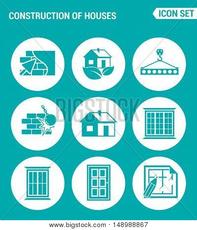 Vector set web icons. Construction of houses plaster walls eco-house Crane lifts the concrete block break down the walls windows doors project. Design of signs symbols on turquoise background