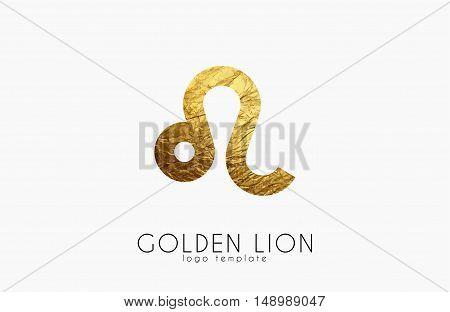 Golden lion. Golden zodiac sign. Lion zodiac