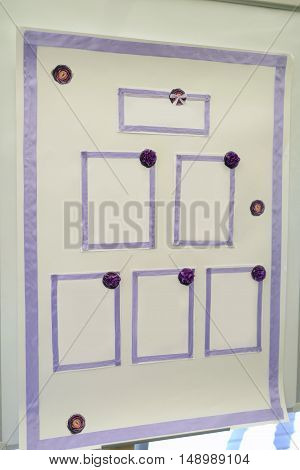 Beautiful wedding seating plan for marriage. White decor for bride and groom. Colorful decoration for celebration. Beauty bridal interior