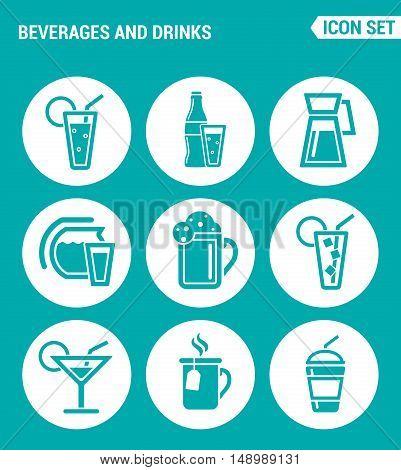 Vector set web icons. Beverages and drinks shake martini bottle bar cocktail alcohol soda juice drink. Design of signs symbols on a turquoise background