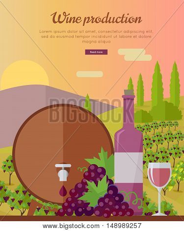 Wine production banner. Bottle of wine, beaker, vineyard, wooden barrel, with grape valley on background. Creative advertisement poster for rose wine. Part of series of viniculture preparation. Vector