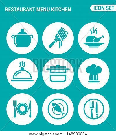 Vector set web icons. Restaurant menu kitchen fork chicken dish pot cook cutlery fish. Design of signs symbols on a turquoise background