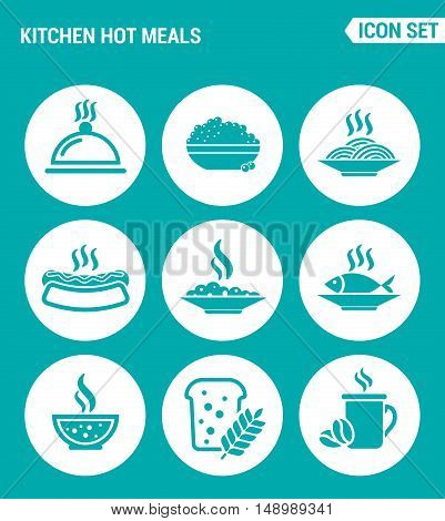Vector set web icons. Kitchen hot meals dish eggs pasta hot dog fish soup porridge bread coffee. Design of signs symbols on a turquoise background
