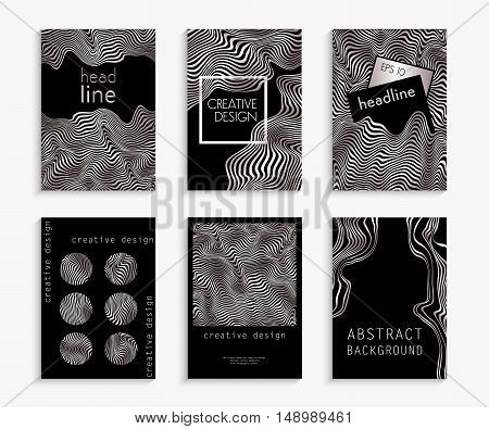 Creative hand drawn cards in white gold and black. Wavy striped vector background. Deformed space. Abstract festive design. Set backgrounds. Expensive, luxurious, shiny, metal. Vector illustration