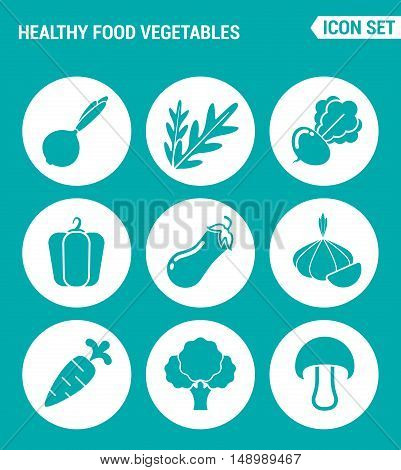 Vector set web icons. Healthy food vegetables onions arugula beets peppers eggplant garlic carrots broccoli mushroom. Design of signs symbols on a turquoise background
