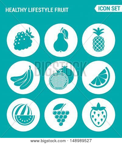 Vector set web icons. Healthy lifestyle fruit raspberry pear pineapple banana garnet lemon watermelon grapes strawberries. Design of signs symbols on a turquoise background