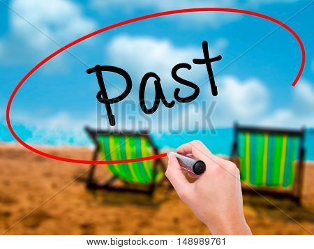 Man Hand Writing Past With Black Marker On Visual Screen