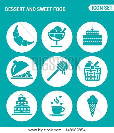 Vector set web icons. Dessert and sweet food croissant dessert cake fruit salad honey apple basket coffee ice creams. Design of signs symbols on a turquoise background