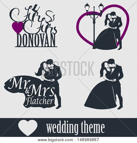 Wedding cake topper vector set. Wedding couple isolated silhouette. Mr. and Mrs. Lettering. Groom and bride together.