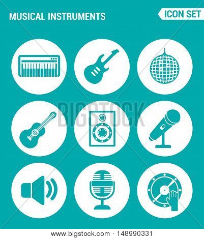Vector set web icons. Musical instruments piano guitar disco ball speaker microphone sound DJ. Design of signs symbols on a turquoise background