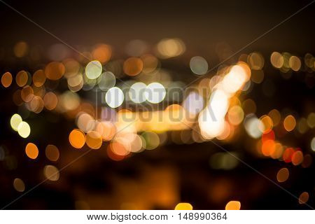 Unclear view of city night. Blurred view of night megalopolis. All those lights and flashes. Wake the sixth sence up.