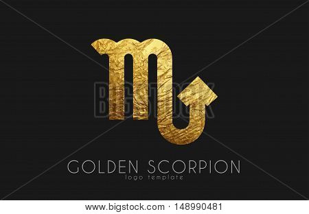 Golden scorpion. Golden zodiac sign. Scorpion zodiac