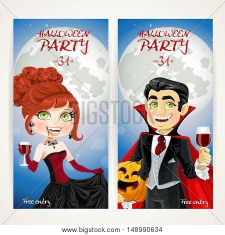 Vertical banners for Halloween Vampire party on full moon background