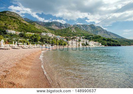 beach Sveti Stefan in Montenegro in September